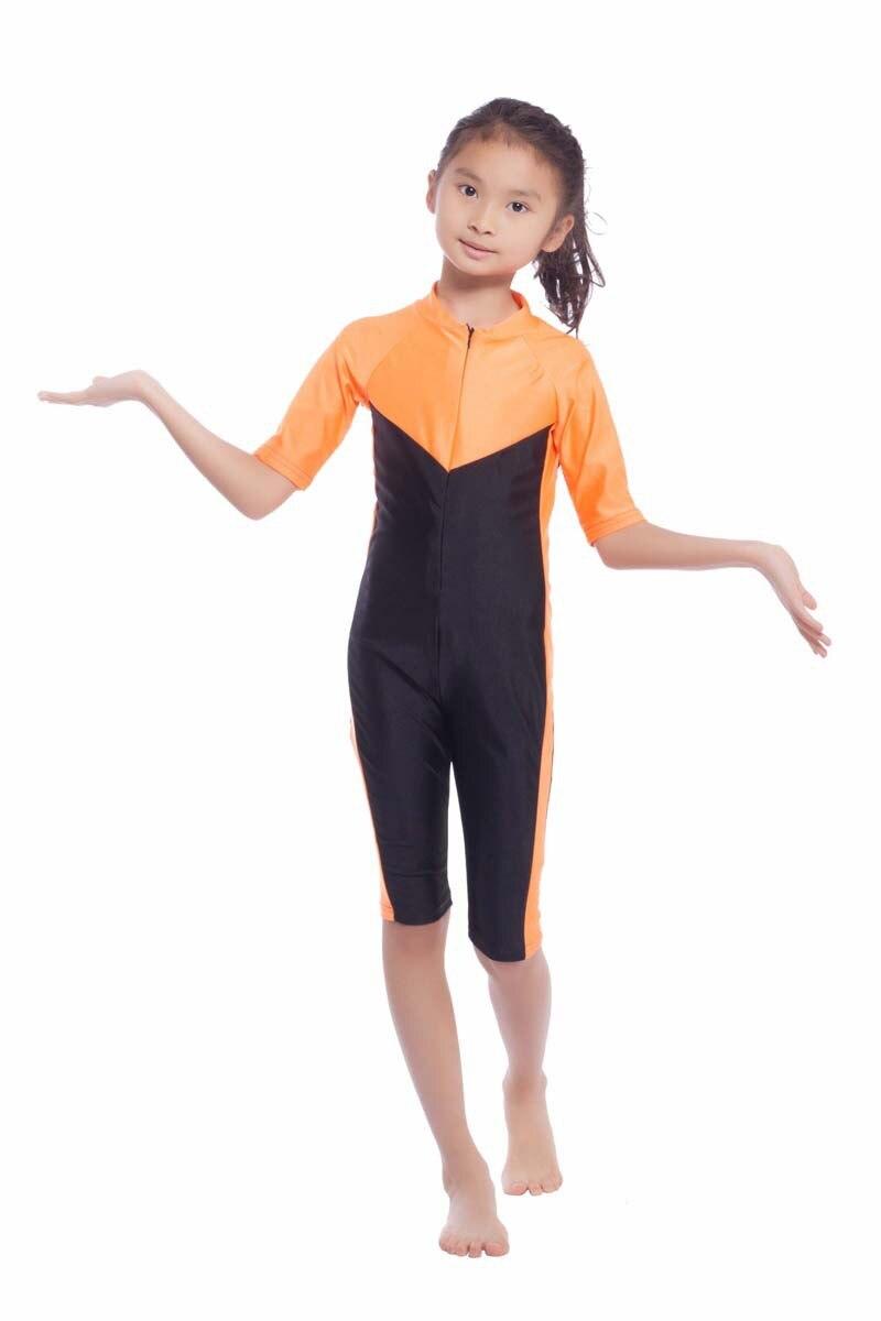 Children's Muslim Swimsui One-Piece Short Sleeve Kids Girls Muslim Swimwears Modest Burkinis Islamic Arab Bathing Suit XX-411