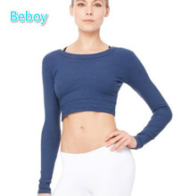 Fall Winter Knitted Running Shirt Women Long Sleeve Sport Fitness Yoga Shirts Tops Breathable Sweatshirt Quick Dry Solid Shirts