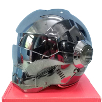 MASEI 610 Plating Chrome Electroplate Gray IRONMAN Iron Man Helmet Motorcycle Helmet Half Open Face Helmet