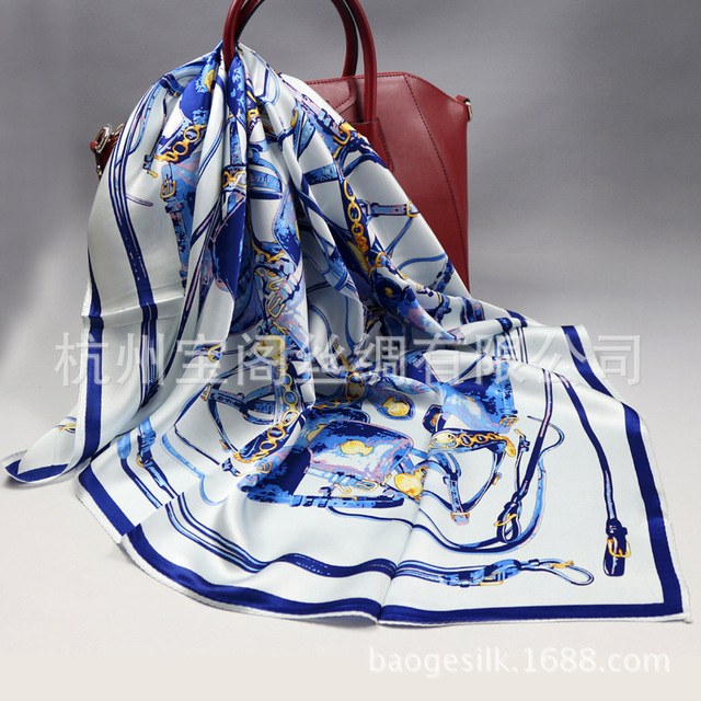 Size 90*90cm New Autumn and Winter Women 100% Silk Scarves Silk Square Towels Printing Reins of the Dance High quality SY