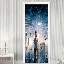 Kreative 3D Stadt Gebäude Tür Aufkleber Poster Für Wohnzimmer Schlafzimmer DIY PVC Selbst Klebstoff Wasserdicht Tapete 3D Wandbild Decals