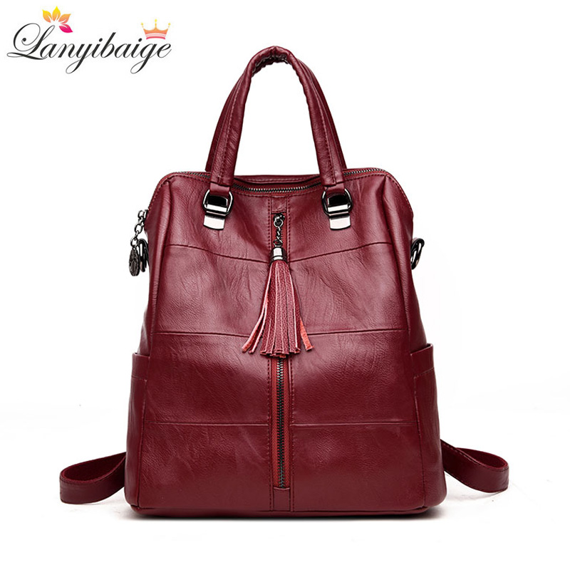 LANYIBAIGE Women Backpack High Quality Leather Pure Color
