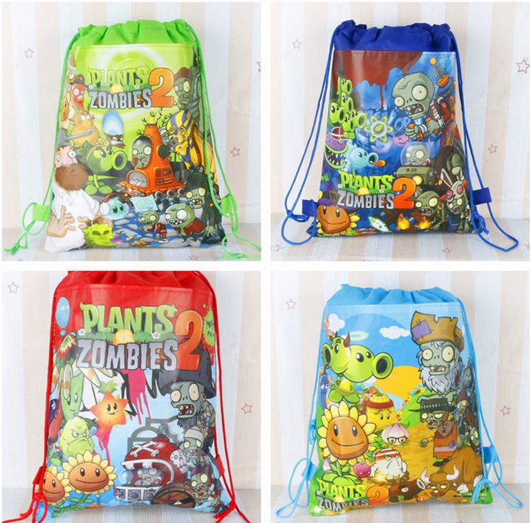 12Pcs Plants vs Zombies Cartoon Kids Drawstring Backpack Shopping School Traveling Party Bags Birthday Gifts