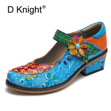 2019 New Retro Women Pumps Oxfords Shoes Hand-painted Print Genuine Leather Female Shoes Flower Comfortable Lady Mary Jane Shoes fedonas new classic design women genuine leather shoes woman retro mary jane wedding party pumps female buckles prom shoes