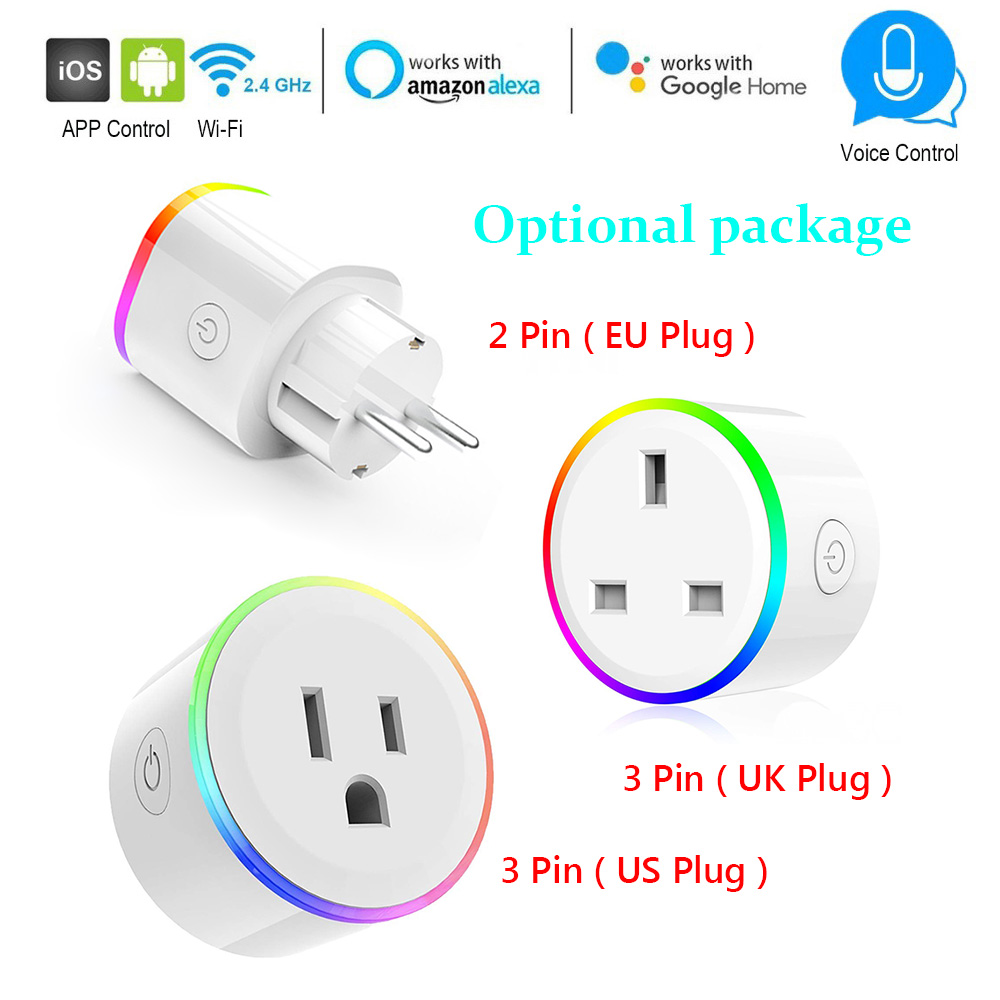 WiFi Smart Plug Voice Control Timer Switch Socket Works With Alexa Google Home