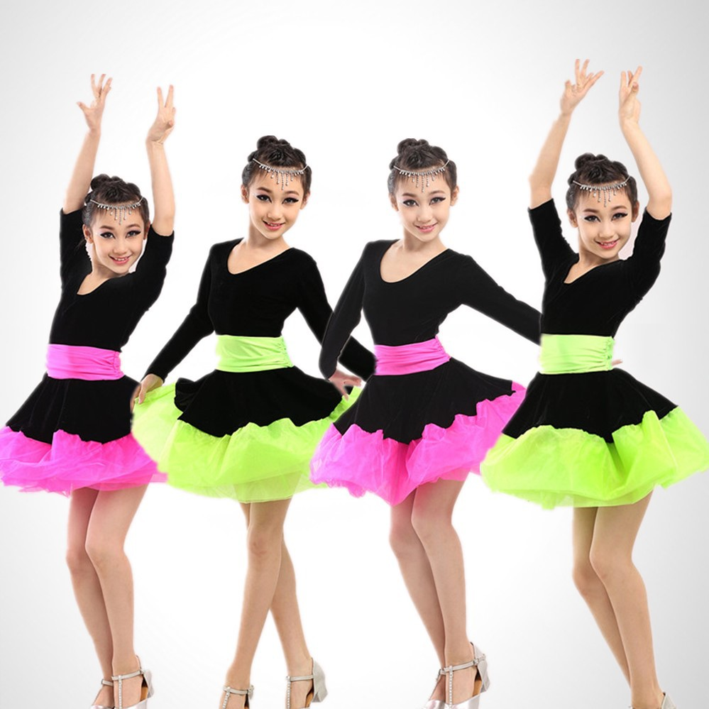 Girl kids dress for ballroom dancing competition latin dance dress