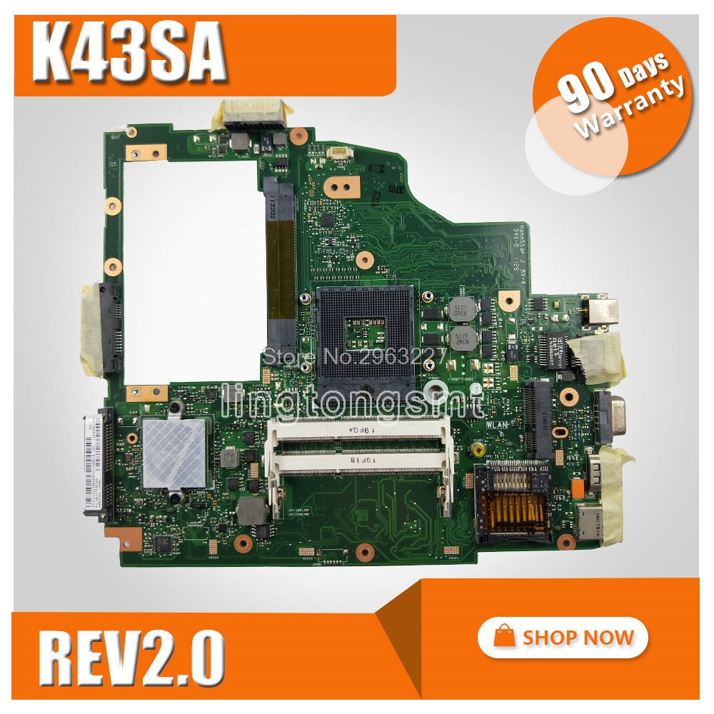 K43SA Motherboard REV 2.0 HM65 For ASUS A43S X43S K43S A43SA K43SA Laptop motherboard K43SA Mainboard K43SA Motherboard test OK g73sw for asus motherboard rev2 0 hm65 4ram slots 3d connector 90r n3imb1000y mainboard full test