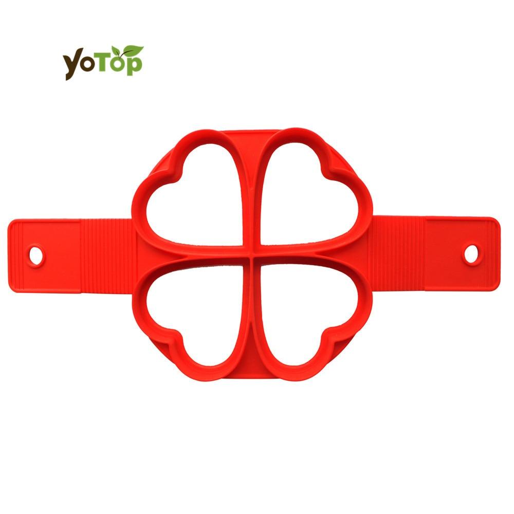 YOTOP 4 Tvarů Non Stick Flip Fantastický silikon LOVE / Kulatý / čtvercový / Květinový Palačinka Palačinka Vaječné pečivo Formy Pečivo Palačinky Formy