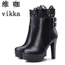 Botas de Tobillo de mujer Botas de Tacones Altos Zapatos de Plataforma para mujer Cordón de La Manera de la Hebilla de Tacón Fino Botas Para Mujer Botines Blancos de talla