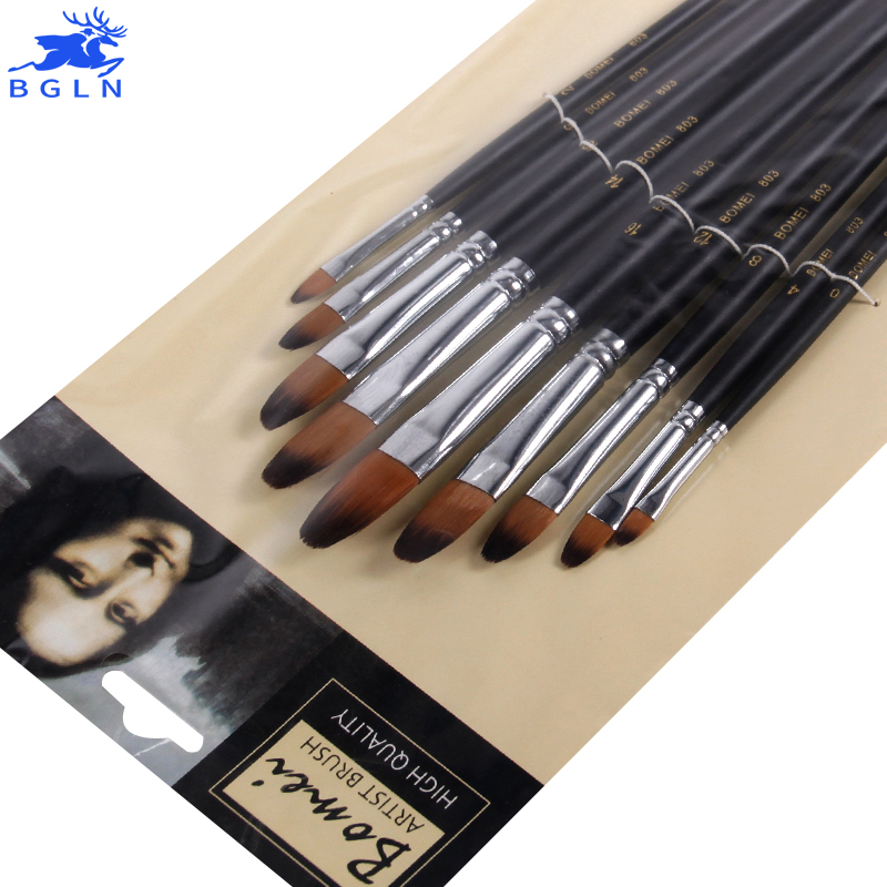 Bergino 9Pcs/Set Nylon Hair Artist Paint Brushes Set For Painting Drawing Art Supplies