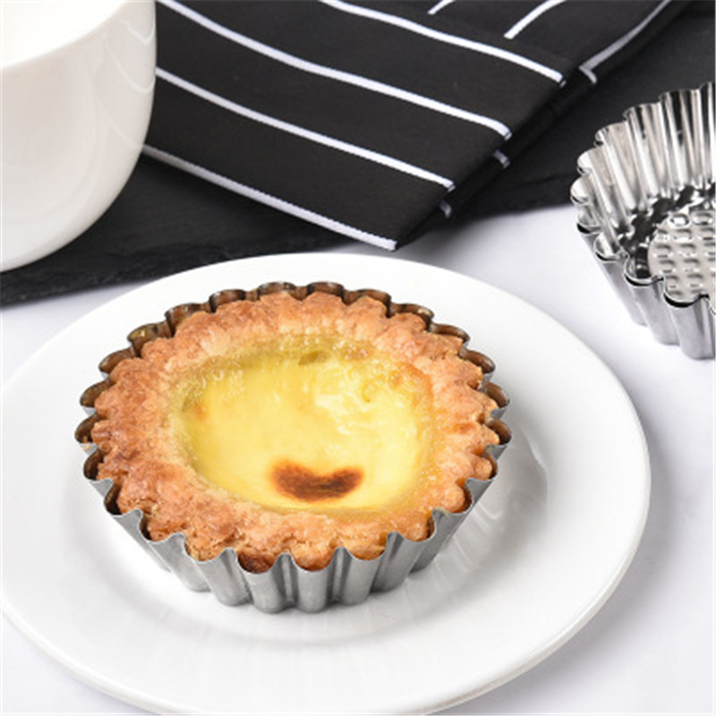 10 Pcs Reusable Silver Stainless Steel Cupcake Egg Tart Mold Cookie Pudding Mould Nonstick Cake Egg Baking Mold Pastry Tools