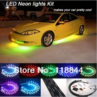 24 2 36 2 7 Colors Wireless Remote Music Activated RGB Car LED Strips Car Decorative