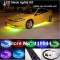 """1Set 24""""*2 & 36""""*2 7 Colors Wireless Remote & Music Activated RGB car LED Strips Car Decorative Light Underbody Neon Lights Kit"""