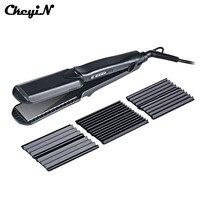 CkeyiN 4in1 Professional Ceramic Hair Flat Iron Wave Corrugation Hair Curler Straightener Curling Hair Crimper Corrugated