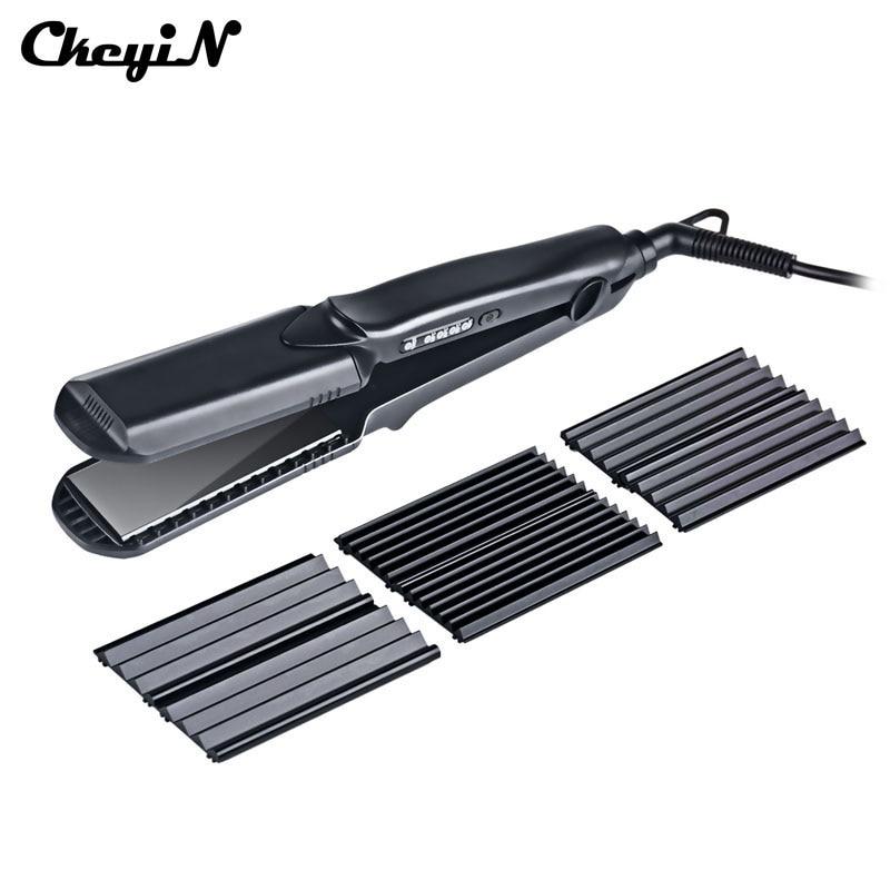 CkeyiN 4in1 Professional Ceramic Hair Flat Iron Wave Corrugation Hair Curler Straightener Curling Hair Crimper Corrugated Curl44