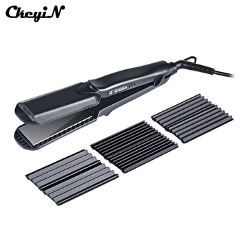 CkeyiN 4in1 Professional Ceramic Hair Flat Iron Wave Corrugation Hair Curler Straightener Curling Hair Crimper Corrugated Curl44 professional hair curler crimper ceramic corrugated curler curling iron hair styler electric corrugation wave styling tools
