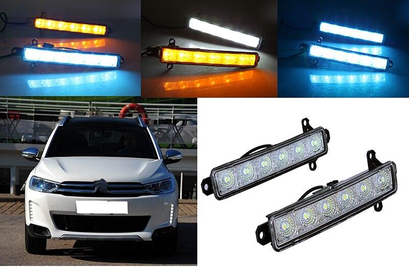 2x высокая качество Водонепроницаемый светодиодные фары дневного света с желтый свет поворота для Citroen С3-XR в 2015 2016 2017
