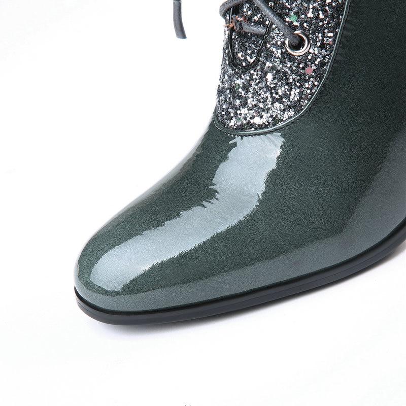 Nuevo Moda Boda Cuero Altos Tacones rojo Zapatos Fiesta Verde Encaje Negro  Botines Verde 2019 De ... e3e1a29ca61
