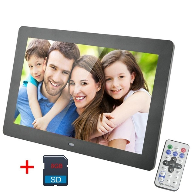 Flash Sale 10 Inch Digital Photo Frame LED Backlight 1024 * 600 Screen Electronic Album Picture Music Video 8 GB SD Card Together Good Gift