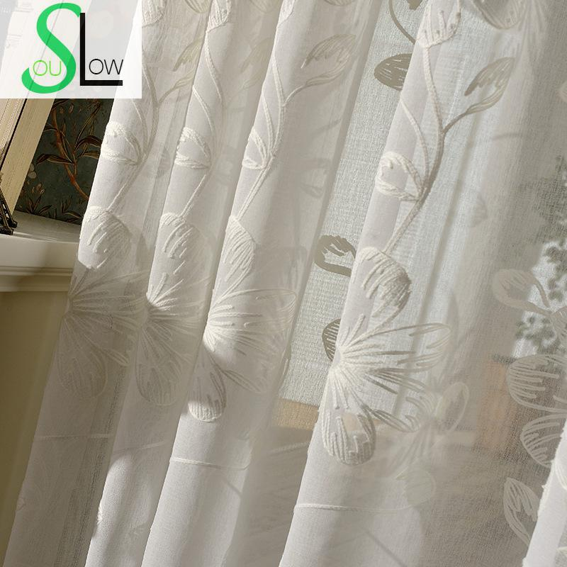 Floral Embroidery Tulle Curtains For Living Room Sheer Volie Window Curtain Tulle-curtains Cortinas Rideaux Cortinas Visillos