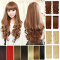 """FACTORY PRICE 17-27"""" 43-768CM 100% Real Natural Hair Extention 3/4 Full Head Clip in Hair Extensions Wave Curly US  Fast SHIP"""