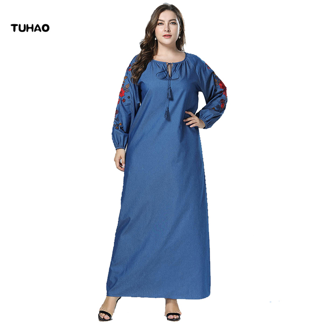 TUHAO Plus Size 4XL 3XL Korean Denim Dresses for Women 2018 Autumn Winter  Casual Jeans Dress Floral Embroidery Denim Dress ZZL f97f1b01efb6