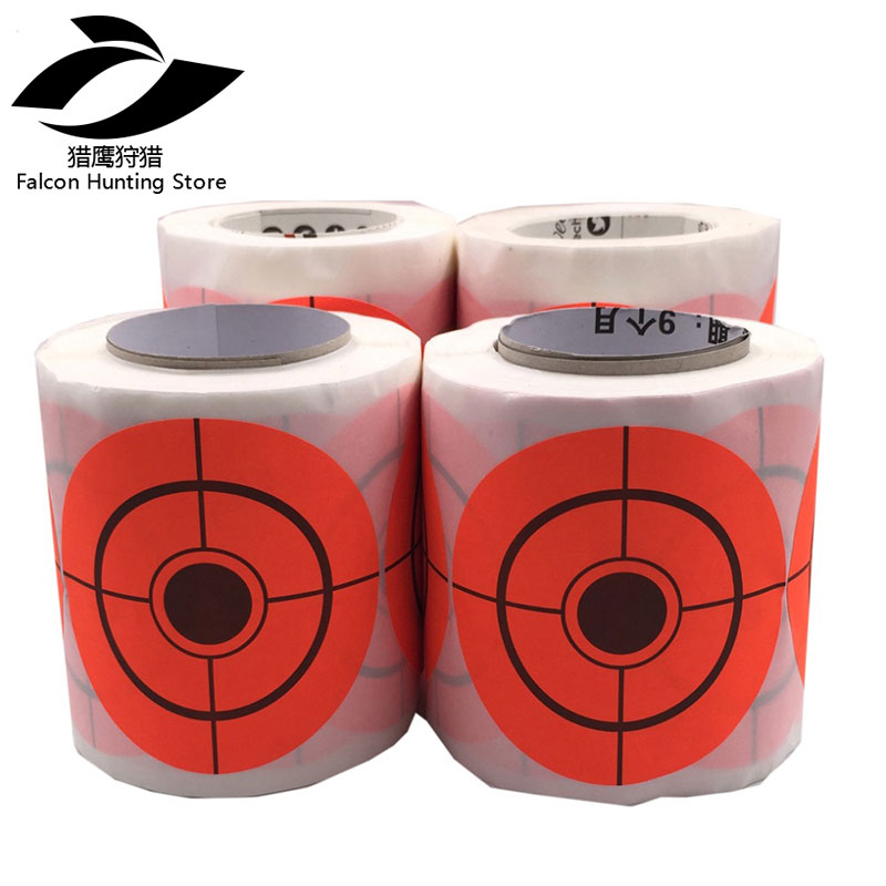 250 Shooting Targets Per Roll, 2 Inch Or 3 Inch Self Adhesive Orange Target Stickers