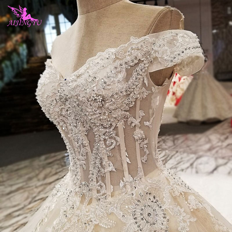 AIJINGYU Sexy Wedding Dresses Short Gown Bridal Lace
