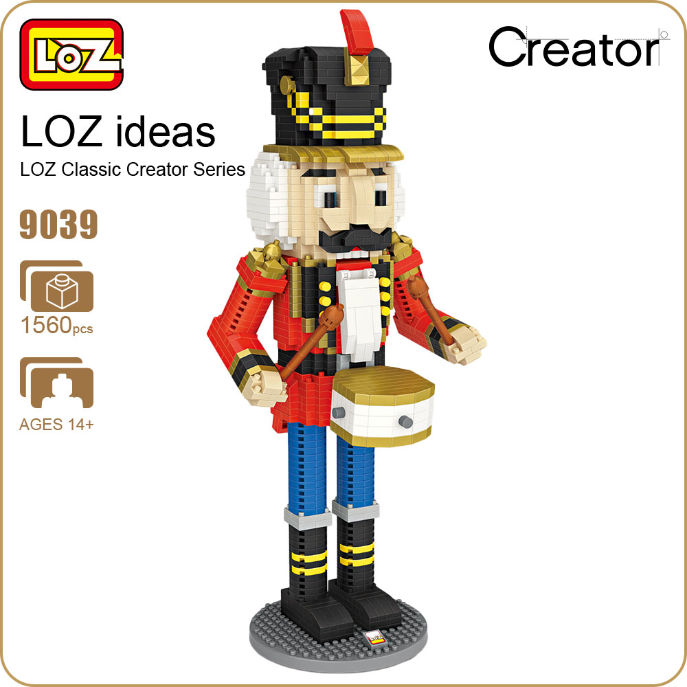 LOZ Micro Block Soldier Doll Nutcracker Puppet Christmas Decorations Figurines Diy Diamond Blocks Drum Figure Gifts Toys 9039 4pcs lot loz christmas gifts doraemon