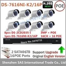 Video Surveillance 8pcs Hikvision DS-2CD2035-I Bullet Outdoor Camera + Hikvision NVR DS-7616NI-K2/16P 2SATA 16CH 16 POE ports