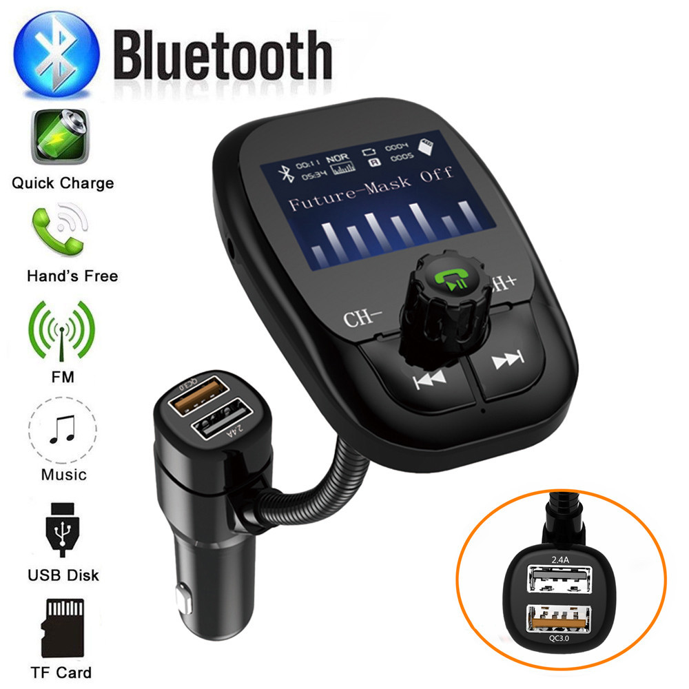 Wireless Car Bluetooth FM Transmitter Radio Adapter QC3.0 USB Quick Charger Mp3 Player 2019 Hands-free smartphone