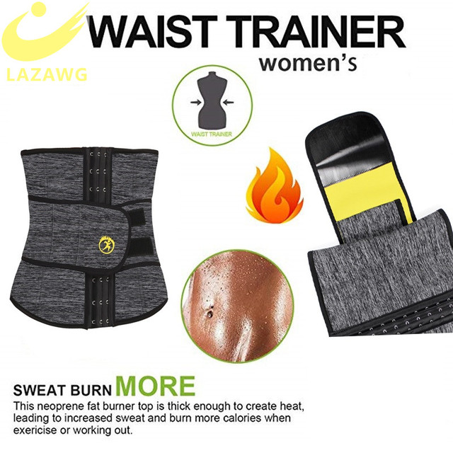 LAZAWG Women Waist Trainer Hot Thermo Sweat Neoprene Belt Waist Cincher Body Shaper Tummy Control Slimming Underwear Girdle 2