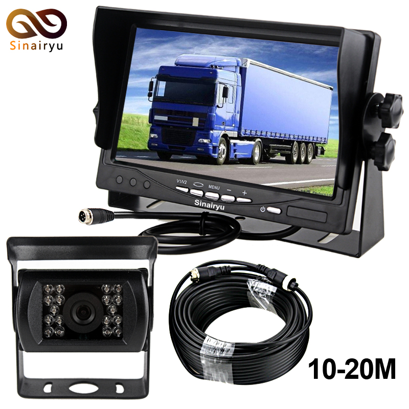 DC12~24V Car Truck Bus 7 Inch LCD Auto Parking Monitor With Bracket Aviation joint 2 Video Input + Rear View Camera free shipping 4 3 lcd monitor car rear view kit 1ch auto parking system for truck bus school bus dc 12v input rear view camera