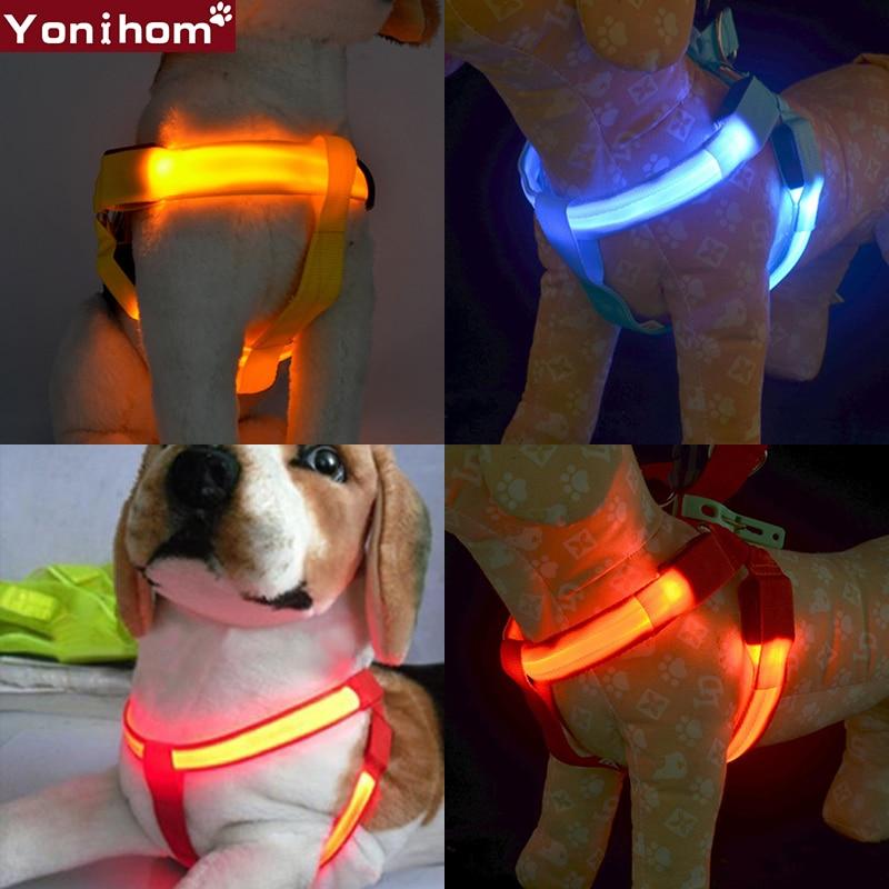LED Dog Puppy Collar Harness Illuminated and Reflective Flashing Dogs Light Glow