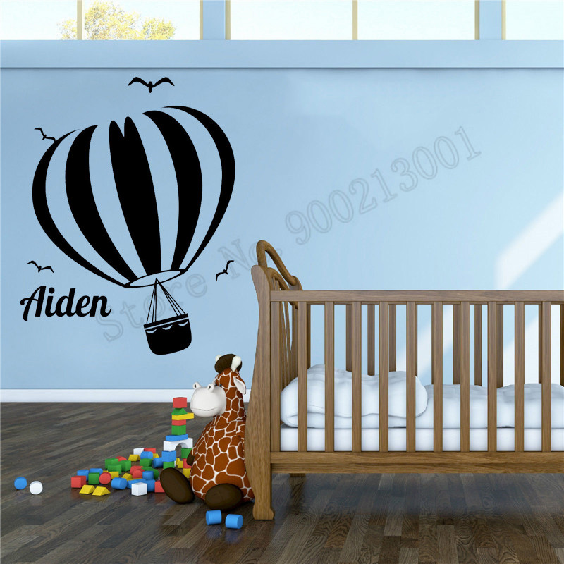 Us 4 59 30 Off Wall Sticker Hot Air Balloon Home Decor Personalized Name Poster Vinyl Art Removeable Mural Beautiful Kidsroom Ornament Ly715 In