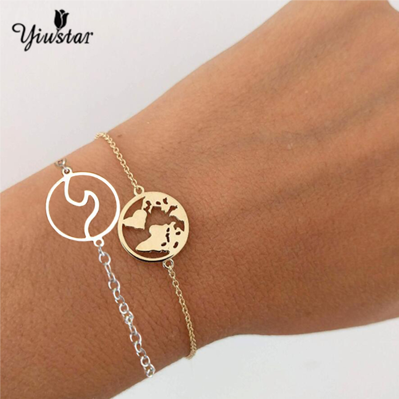 Yiustar Gold World Map Stainless Steel Bracelets For Women Wave