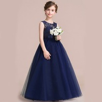 Retail High Quality Lace Ankle Length Girls Evening Prom Ball Gown Heart Neck Elegant Girls Summer