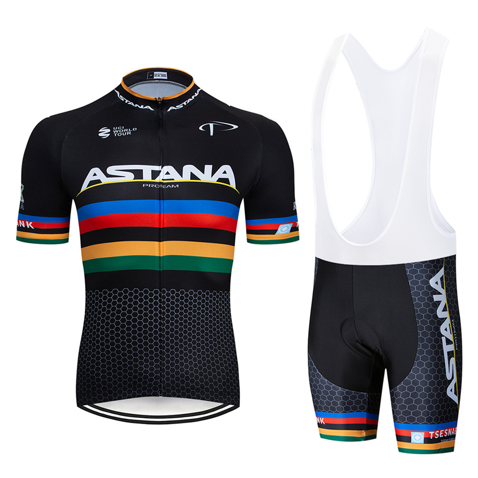2019 black Astana Cycling team jersey 9D bike shorts set Quick Dry Mens Bicycle clothes team pro BIKE Maillot Culotte(China)