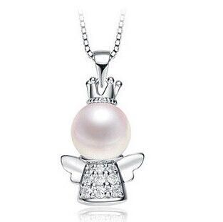 Nový příchod módní andělské korálky perla zirkon křišťál 925 šterlinků stříbrné dámské náhrdelníky šperky velkoobchod dárek