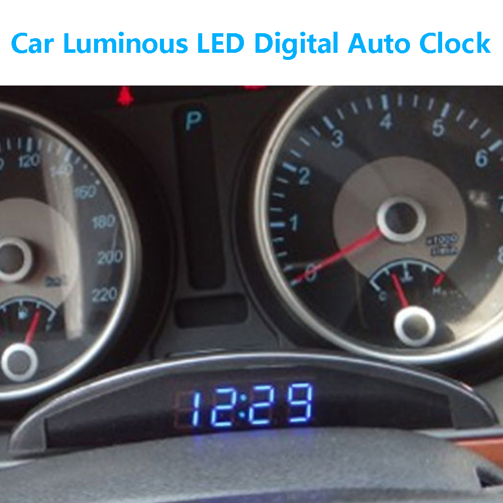 VODOOL coche nuevo luminoso LED Digital Auto reloj termómetro voltímetro para vehículos tronco 12 V tiempo de pantalla con función de memoria