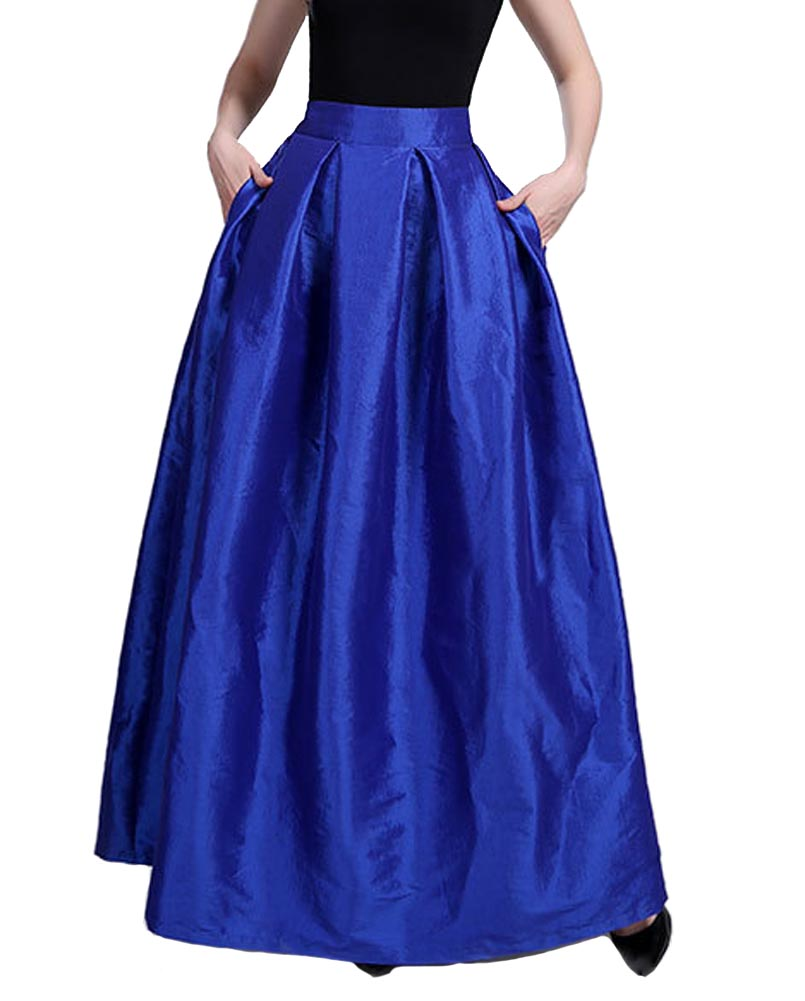 Hitmebox 2018 New Fashion Women Hight Waist A-line Pleated Formal Party Gown Solid Color Maxi Long Swing Skirts