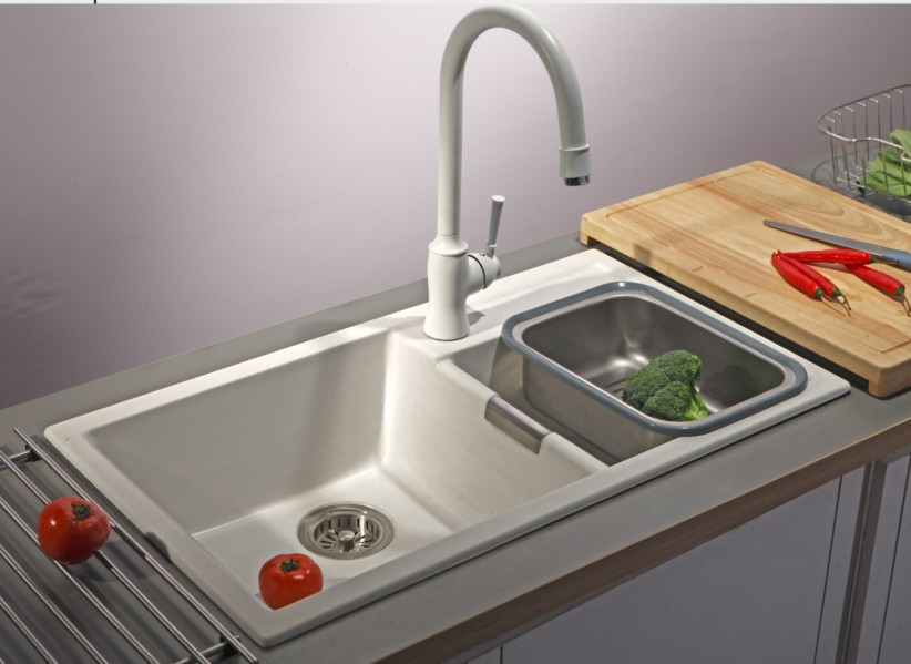 2017 artificial stone kitchen sink granite basin white pearl quartz stone kitchen sink high quality - Kitchen Basin Sinks