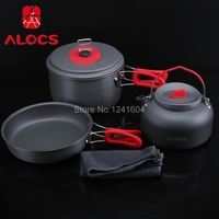 Alocs Portable Ultralight Aluminum Pan Pot Kettle Dishcloth Set 2 3 People Outdoor Non Stick Camping Hiking Backpacking CW C19T
