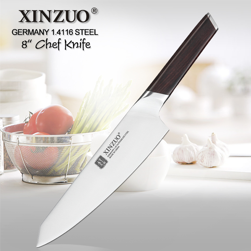 XINZUO 8 Chef Knife DIN 1.4116 Stainless Steel Germany Kitchen Knives Cutting Peeler Vegetable Knife  Ebony Handle Gift CaseXINZUO 8 Chef Knife DIN 1.4116 Stainless Steel Germany Kitchen Knives Cutting Peeler Vegetable Knife  Ebony Handle Gift Case