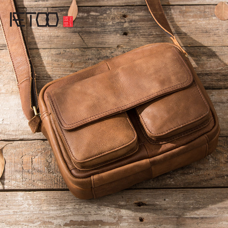 AETOO Original retro leather men s bag simple hand painted frosted leather shoulder bag cross handbag