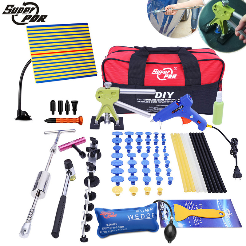 PDR tools Paintless dent repair Tools kit Slide Hammer bridge pulling Glue Gun Dent Puller Car Auto Body Hail Damage Repair spot welding sheet metal tools spotter tools with slide hammer 393pieces ss 393