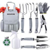 9PCS/set Portable Steel Shovel Pruner Rake Spade Trowel Dibble Gloves Pick Emergency Outdoor Garden planting Tools Camping