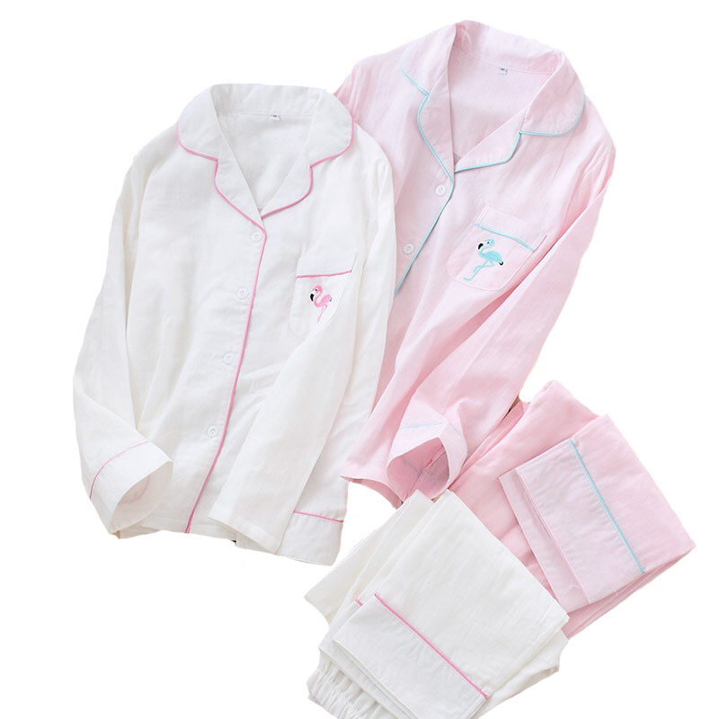 Spring And Autumn New Women Gauze Cotton Simple Style   Pajamas     Set   Flamingo Embroidered Ladies Sleepwear Turn-down Neck Homewear