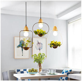 Hanging Plant Pots   Modern Home Dinner Led Pendant Light Creative Potted Plant Balcony Designer Hanging Light Fixtures Free Shipping