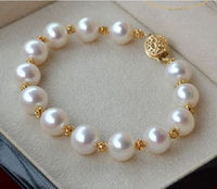 HUGE NATURAL 10 11MM ROUND SOUTH SEA GENUINE WHITE PEARL BRACELET GOLD CLASP